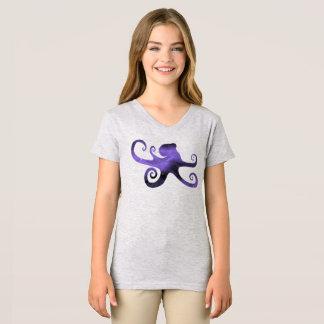 T-shirt estrelado roxo de Girl da silhueta do