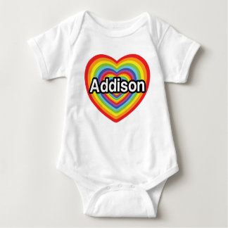 T-shirt Eu amo Addison, coração do arco-íris