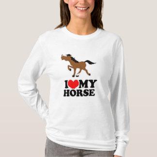 T-shirt Eu amo meu Hoodie cabido BRANCO do CAVALO