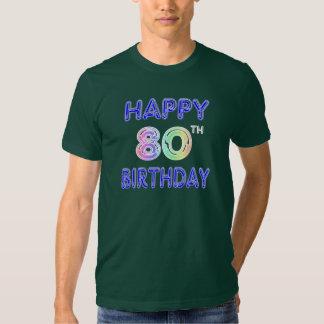 T-shirt feliz do aniversário do 80