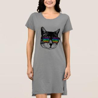 T-shirt Gato com vidros do arco-íris