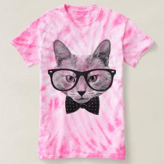 T-shirt Gato do hipster do vintage