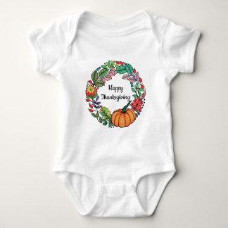 T-shirt Grinalda bonita da abóbora da aguarela com folhas