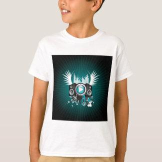 T-shirt ilustração da música com auto-falante e asas