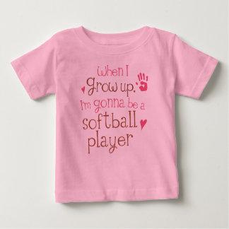 T-shirt infantil do bebê do jogador de softball