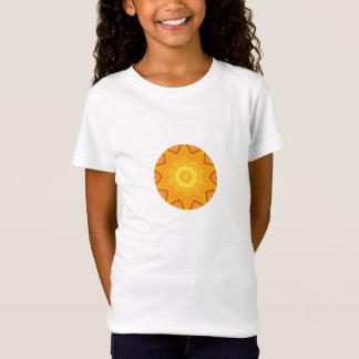 T-shirt Laranja e caleidoscópio redondo abstrato do