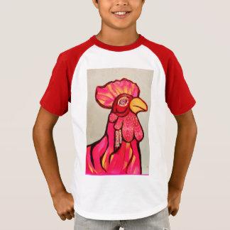 T-shirt listrado do V-Pescoço dos miúdos com galo