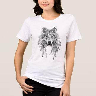 T-shirt Lobo roupa nativo no T apto relaxado do jérsei