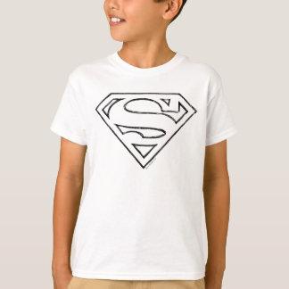 T-shirt Logotipo preto simples do esboço do S-Protetor |