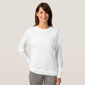 T-shirt longo básico da luva das mulheres