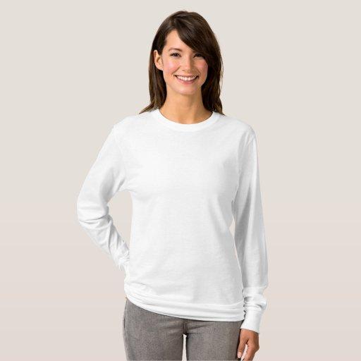 Camiseta de mangas compridas básica feminina, Branco