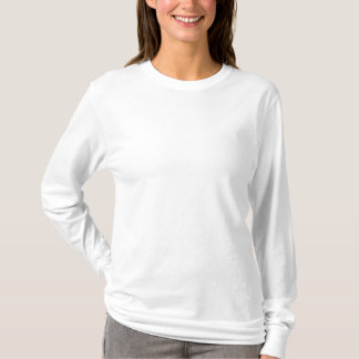 T-shirt longo bordado da luva das mulheres