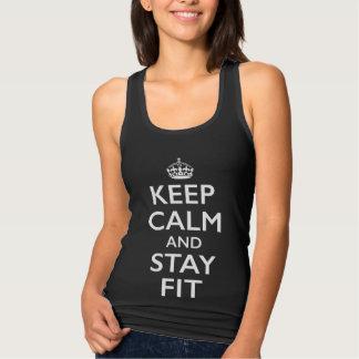 T-shirt Mantenha a calma e permaneça a camisola de alças
