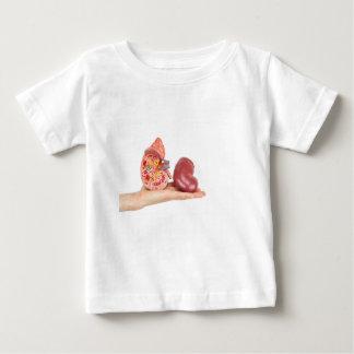T-shirt Mão lisa que mostra o rim humano modelo