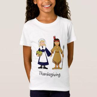 T-shirt Meninas do peregrino e do nativo americano da