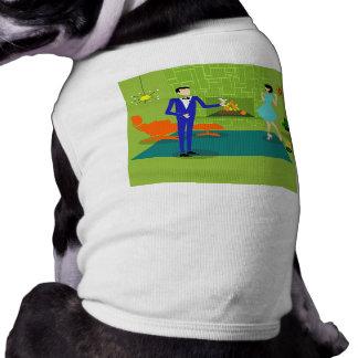 T-shirt moderno do cão do casal do meio século camiseta