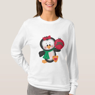 T-shirt nano da luva longa do pinguim do Natal