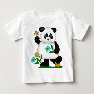 T-shirt O bebê caçoa a panda com flores 2