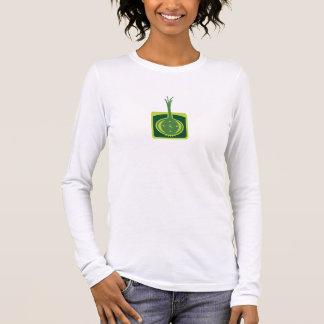 T-shirt O T cabido das mulheres luva longa -- Parte