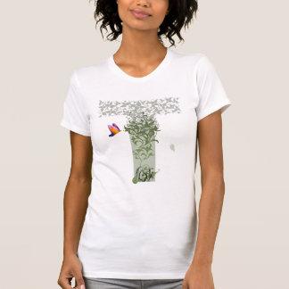 T-shirt O T das mulheres dos pensamentos do detalhe