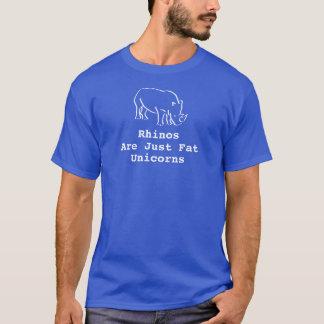 T-shirt Os Rhinos azuis dos homens são apenas unicórnios
