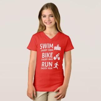 T-shirt Pai do funcionamento da bicicleta da natação -