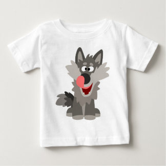 T-shirt parvo bonito do bebê do lobo dos desenhos