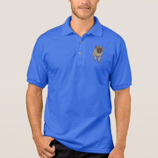 T-shirt Polo O pólo bonito dos homens do Pug - azul