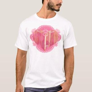 T-shirt Porta dada forma coração com chave de esqueleto