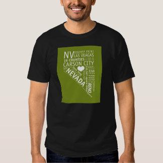 T-shirt preto do amor do estado de Nevada