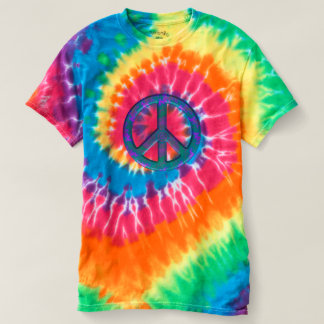 T-shirt retro da Laço-Tintura do sinal de paz