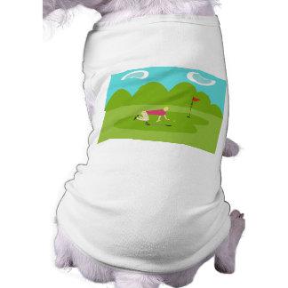 T-shirt retro do cão do jogador de golfe camiseta