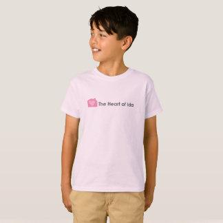 T-shirt rosa pálido dos miúdos com coração do