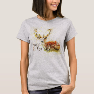 T-shirt selvagem & livre dos cervos | da aguarela