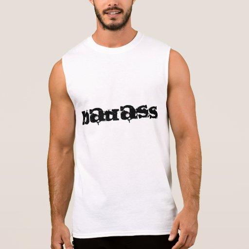 T-shirt sem mangas branco do impressão de Badass