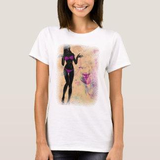 T-shirt Silhueta violeta 2 da menina do biquini do Grunge