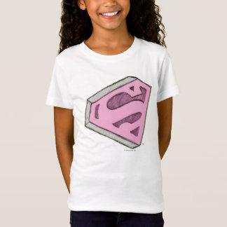 T-shirt Supergirl esboçou o logotipo cor-de-rosa