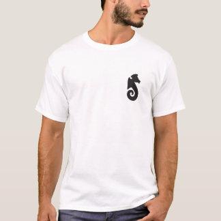 T-shirt T do cavalo marinho da praia do beira-mar (branco)