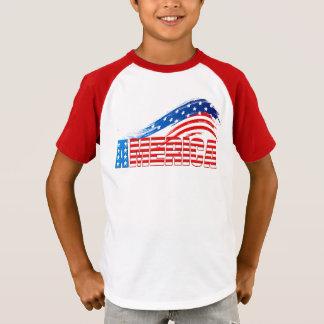 """T-shirt T listrado da luva do miúdo - """"AMÉRICA"""" Stars"""