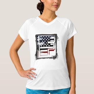 T-shirt Teste padrão da bandeira dos EUA da inicial do