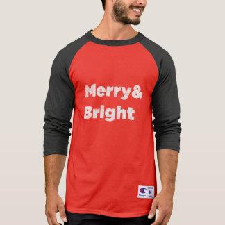 T-shirt Texto brilhante do Natal de Merry&