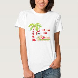 T-shirt tropical do flamingo da árvore de Natal