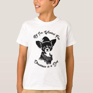T-shirt Tudo que eu quis para o Natal é um cão