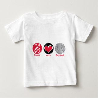 T-shirt Vermelho do softball do amor da paz