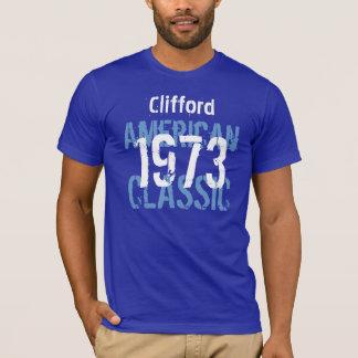 T-shirts 1973 azul conhecido feito sob encomenda clássico