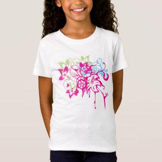 T-shirts Arte abstrata dos gotejamentos das flores do Aqua