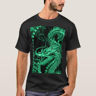 T-shirts Arte esmeralda chinesa do dragão do imperador