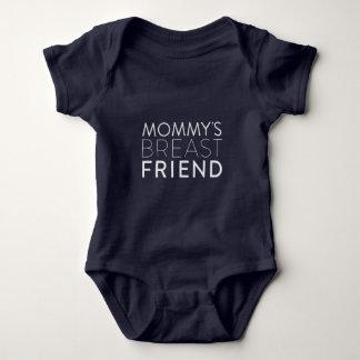 T-shirts Bodysuit do bebê do amigo do peito da mamã (texto