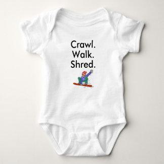 T-shirts Bodysuit do bebê do Snowboard do fragmento da