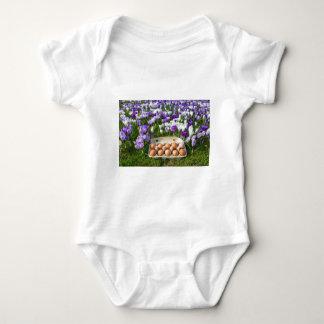 T-shirts Caixa de ovo com os ovos da galinha nos açafrões